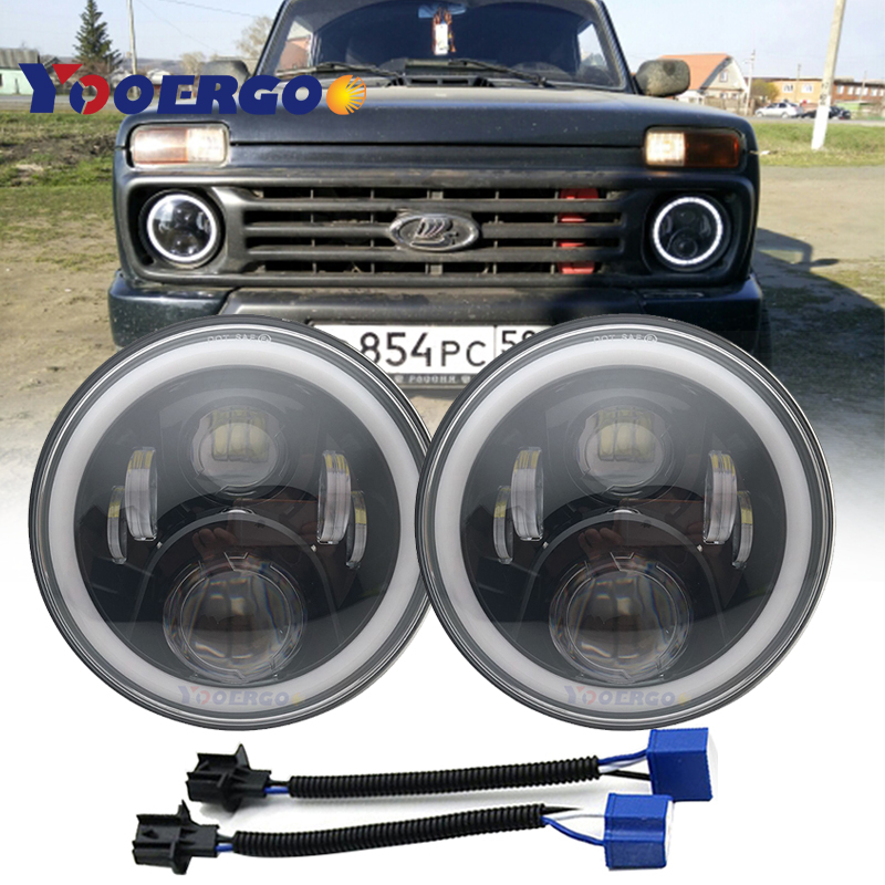 50W 30W 7 Inch Round Led Headlight Angel Eye Hi Lo Beam DRL Auto for Offroad