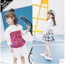 Korean children 2016 girls suit children shape long sleeved shirt + skirt suit lattice free shipping
