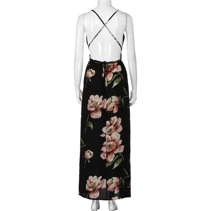 Женское летнее сексуальное длинное вечернее платье Boho, женское повседневное пляжное платье без рукавов, Бандажное платье с v-образным вырезом, платья длиной до щиколотки