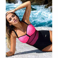 One Piece Swimsuit Women Mesh Swimwear Patchwork Beach 1