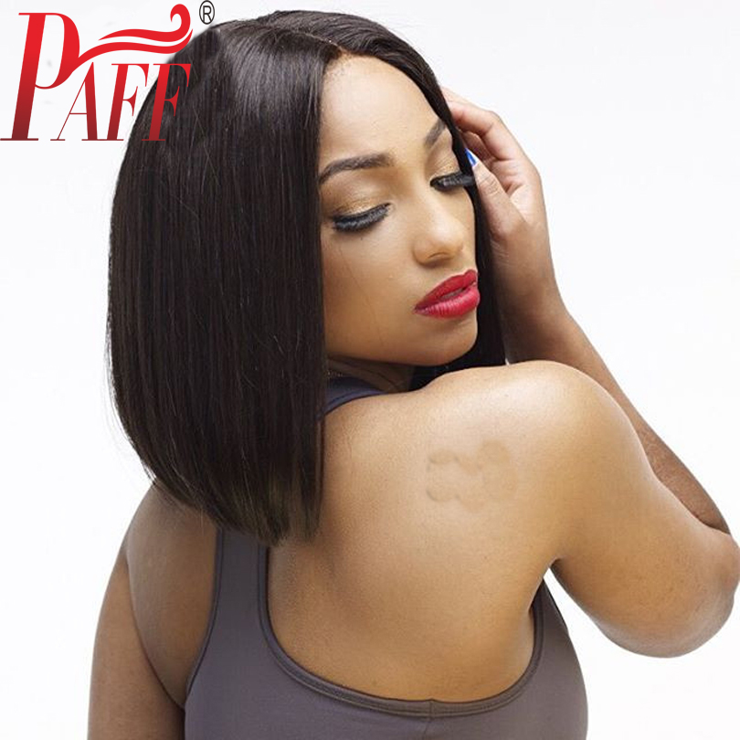 PAFF Short Bob Lace Front Human Hair Wig Middle Part 8-14 Inches Straight Malaysian Remy Hair Wig With Baby Hair Bleached Knots