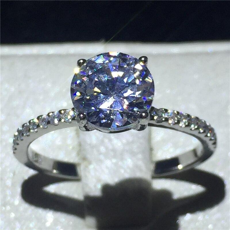 Ювелирные изделия с камнем солитером 100% Soild кольцо из стерлингового серебра 925 1ct Sona Циркон Камень Обручальное кольцо для женщин подарок на д