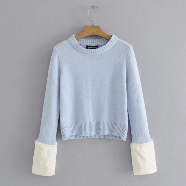 d08ce6d578 Chic O neck Spliced Faux Fur Cuff Sweater Women knitted Pullover long sleeve  Short Jumpers Casual
