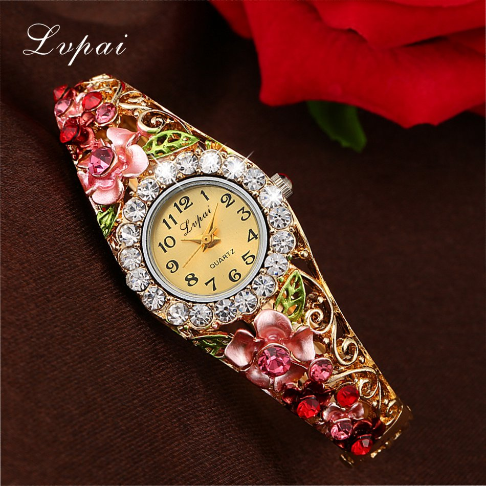Lvpai 2016 New Brand Women Bracelet Watch Women Fashion Alloy Wrist Watches Women Dress Watches Fashion Gift Quartz Watch landu new women s fashion waterproof cloisonne bead bracelet quartz women watches