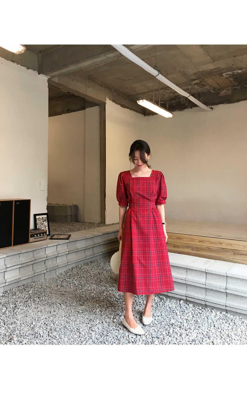 新しい夏ドレス女性のコットンリネン OL カジュアル半袖ドレス女性ドレススクエア赤チェック柄ドレス自由奔放に生きるローブフェムセクシー vestido