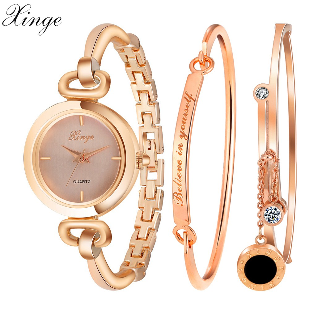 Xinge Fashion Brand Watches Women Rhinestone Bracelet Waterproof Wristwatches Set Watches For Women Classic Female Quartz Watch landu new women s fashion waterproof cloisonne bead bracelet quartz women watches