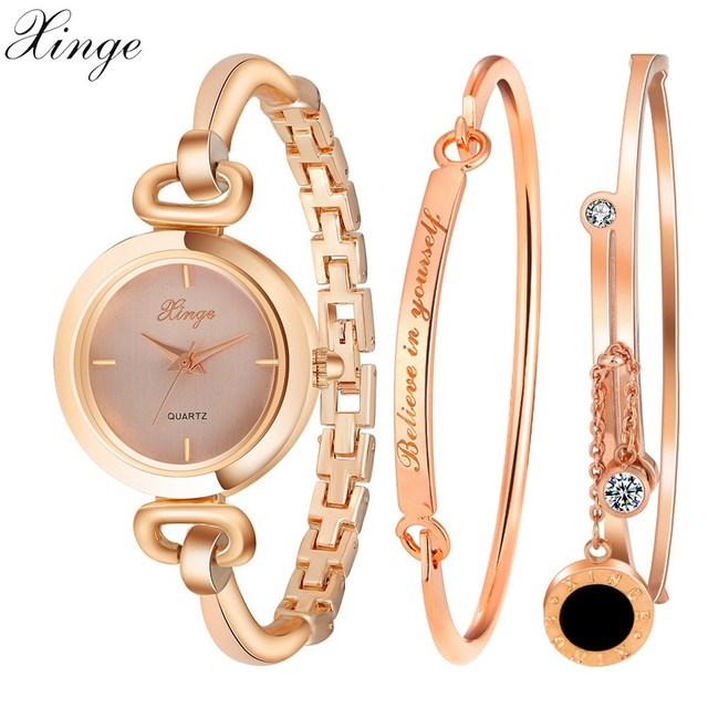 Xinge Fashion Brand Watches Women Rhinestone Bracelet Waterproof Wristwatches Set Watches For Women Classic Female Quartz Watch