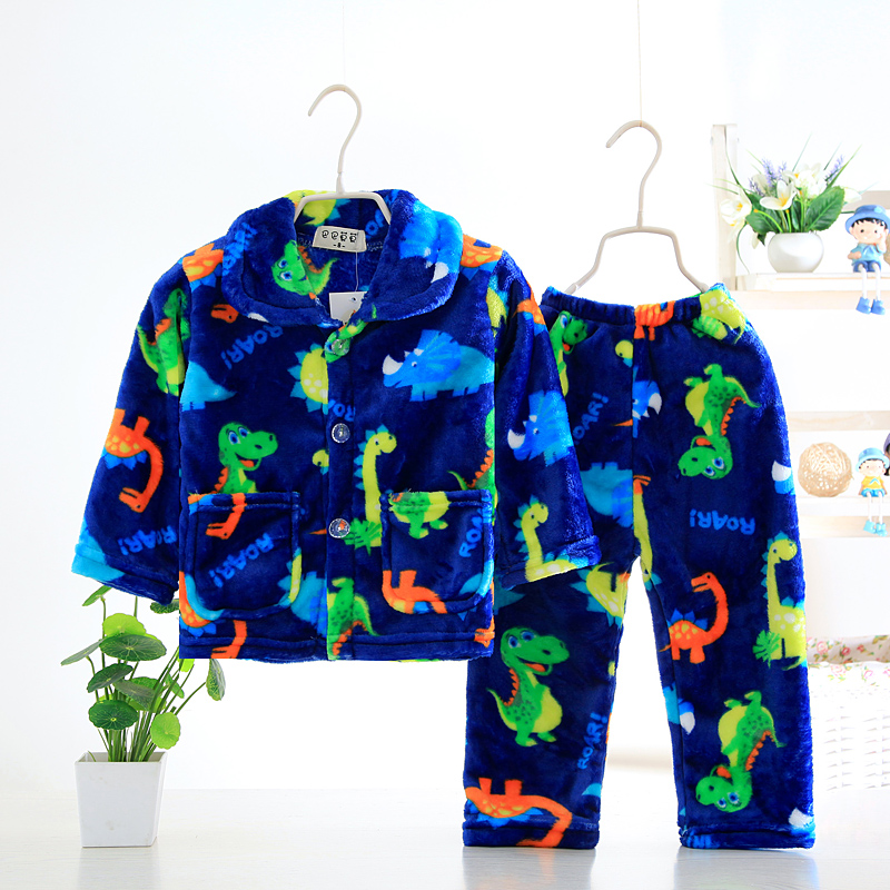 Famli Kids Flannel   Pajamas     Sets   Warm Coral Fleece Girls Cartoon Print Sleepwear Boys Winter Long Sleeve Pijamas Nightgown