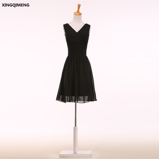 ee550dafc95ed Little Black Dress Chiffon Cocktail Dresses Elegant Short Cocktail Dress  Cheap Simple Formal Dress V Neck Chic Short Prom Gown