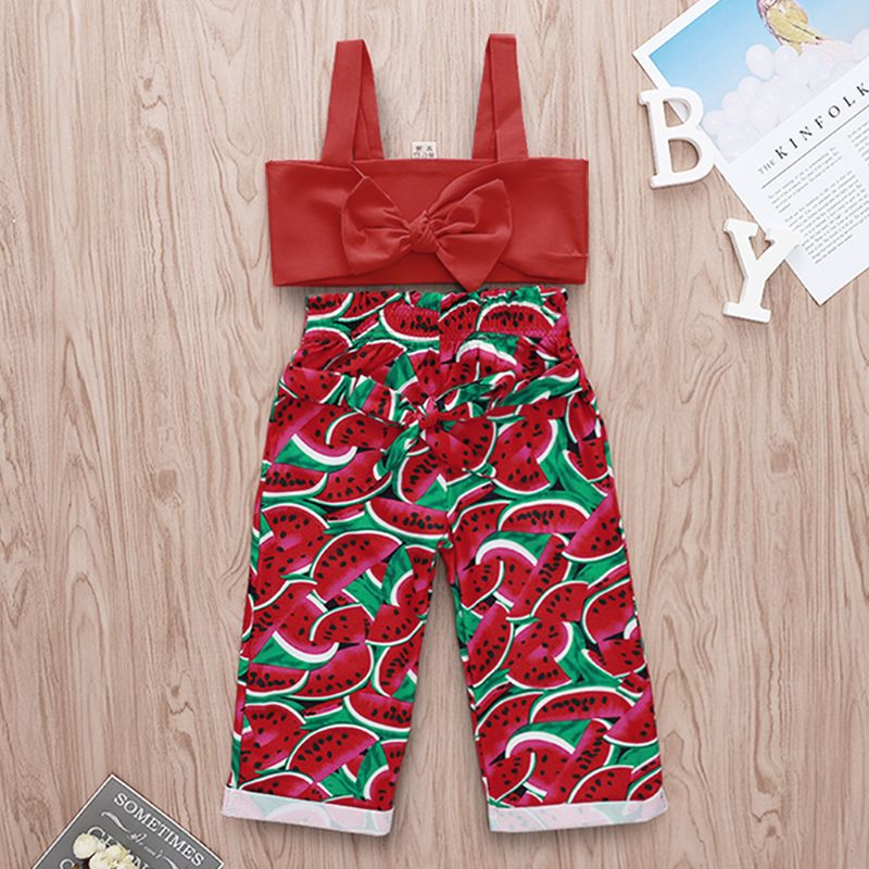 Kids Outfits Cotton Toddler Kids Baby Girls Sleevelss Sling Bow Vest Tops High Waist Watermelon Printing Pants 2PC Outfits in Clothing Sets from Mother Kids