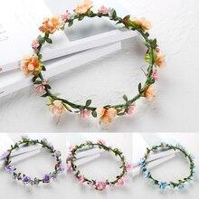 1Pcs Flower  Bride Artificial Plastic Head Wreath For Hair Floral Headband Wedding Accessories diademas