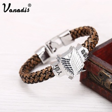 VANADIS Anime Attack On Titan Bracelet PU Leather Rope Chain Freedom Wings Cosplay Bracelet For Women Men Charm Bracelets Gift(China)