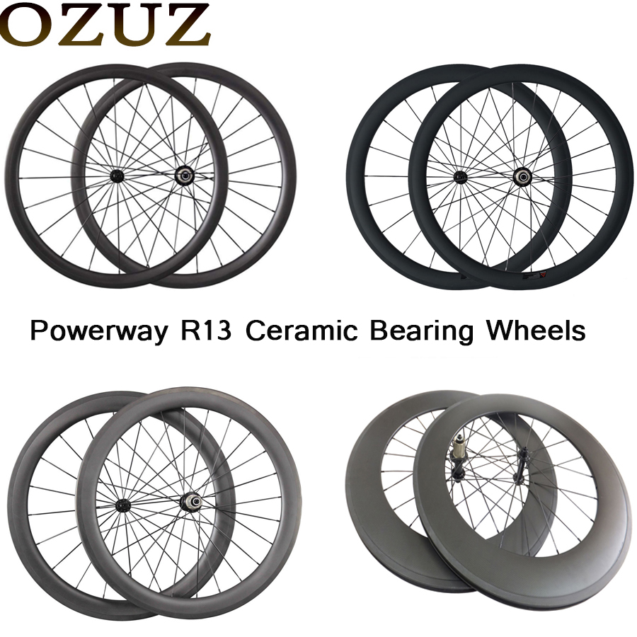 OZUZ Ceramic Bearing Carbon Road Bike Wheels 38mm 50mm 88mm 23mm Wide 3k Matte Clincher Tubular