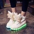 Женская Симпатичные Повседневная Обувь Новый Стиль Светящиеся Обувь со Светом Кожа на шнуровке Белый Светодиод Обувь для Женщин Новый Моделирование единственным