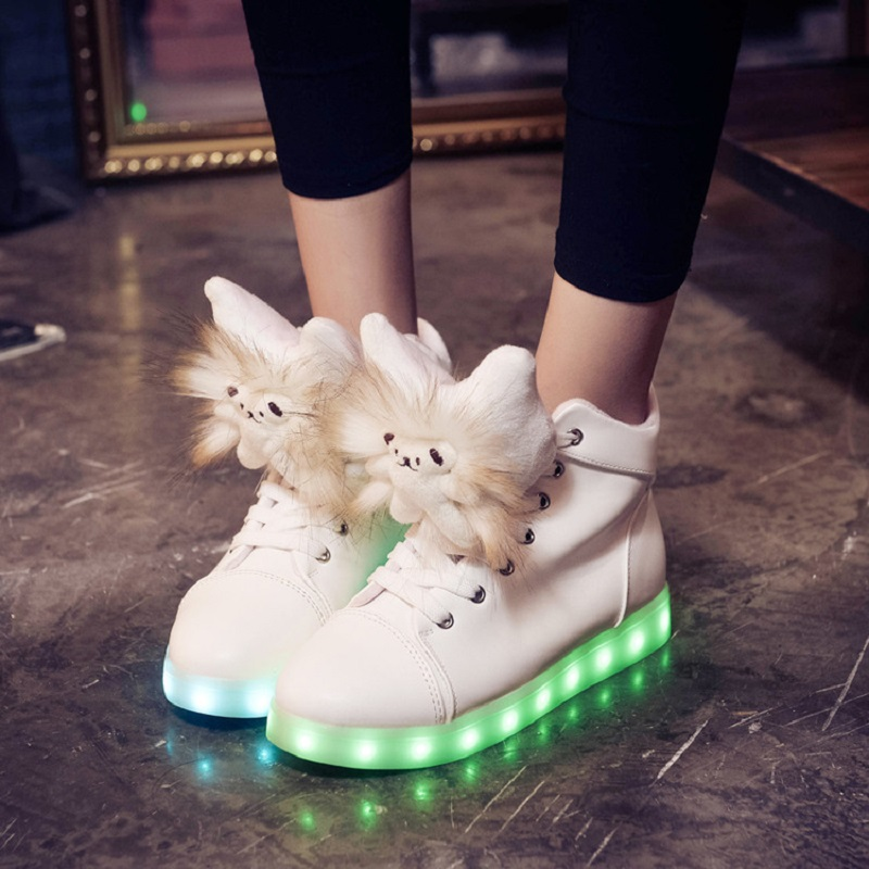 Women s Cute Casual Shoes New Style Glowing Shoes with Light Up Leather  Lace-up White Led Shoes for Women New Simulation Sole ad907f900d