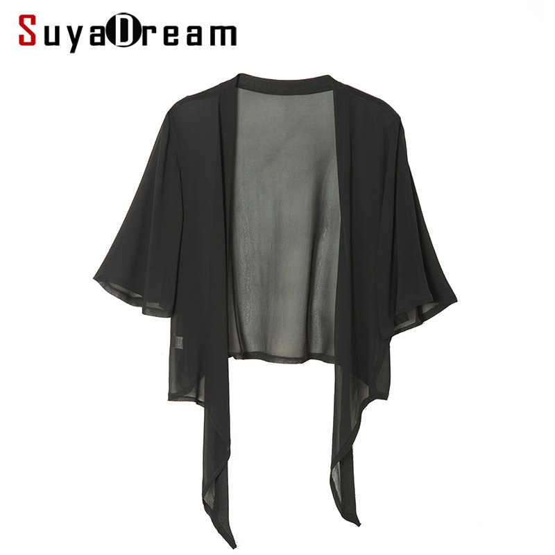 Women Silk Blouse 100% REAL SILK Solid Cheer chiffon Fashion Transparent blouse shirt Blusas femininas 2018 Spring Blue Black