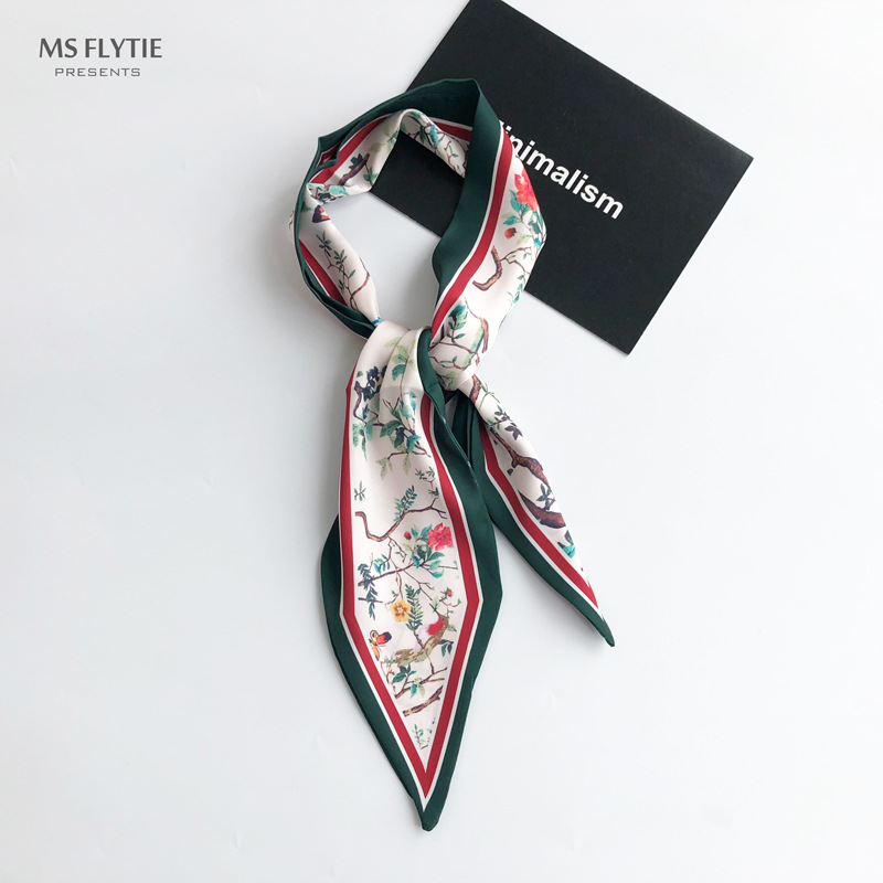 Flower Birds New Arrival Print Lady Riband Scarves Bags Vintage Time Scarf Small Ribbon Hair Band Bandeaus Clothing Match BD182