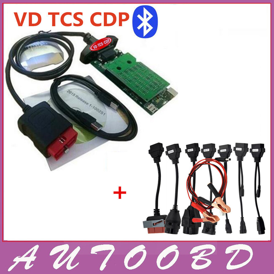 New vci (2015.3 R3 Keygen /2015R1 ) VD CDP PRO with bluetooth obd2 OBDII OBD II Auto Car scanner + Full set 8 car cables  with bluetooth function super tcs cdp pro plus keygen led 3 in1 sn 100251 obdii obd obd2 scanner diagnostic interface cdp pro