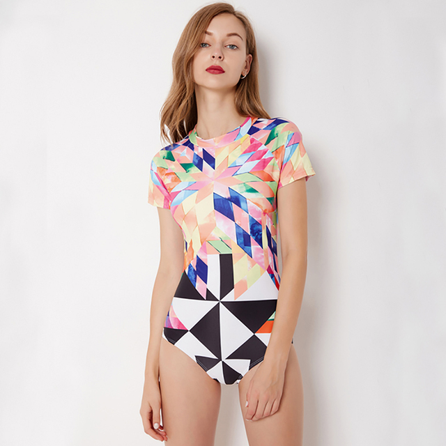 d2a4a1f603 Best Offers 2018 Geometric Print One-Piece Suits Sexy Triangle Swimsuit  Padded Zipper Swimwear Summer