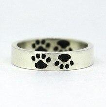Pevný 925 stříbrný oxidovaný prsten štěně, nožní kroužek