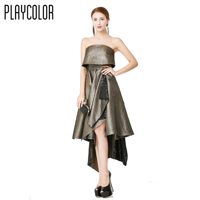 PLAYCOLOR Long Evening Dress 2017 Shimmer Fabric Strapless Prom ...