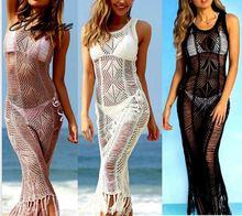 Women Lace Crochet Beach Long Dress Summer Knitted Hollow Out Sleeveless Boho