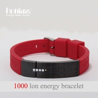 Blue Red 4 IN 1 Watch Band Mens Fashion Silicone Energy Sports Bracelet 1000 Ion Releasing Bangle Far Infrared Ray
