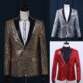 2017 vermelho/ouro/prata mangas compridas lantejoulas dos homens terno/blazer trajes festa de casamento desempenho cantor solo trajes