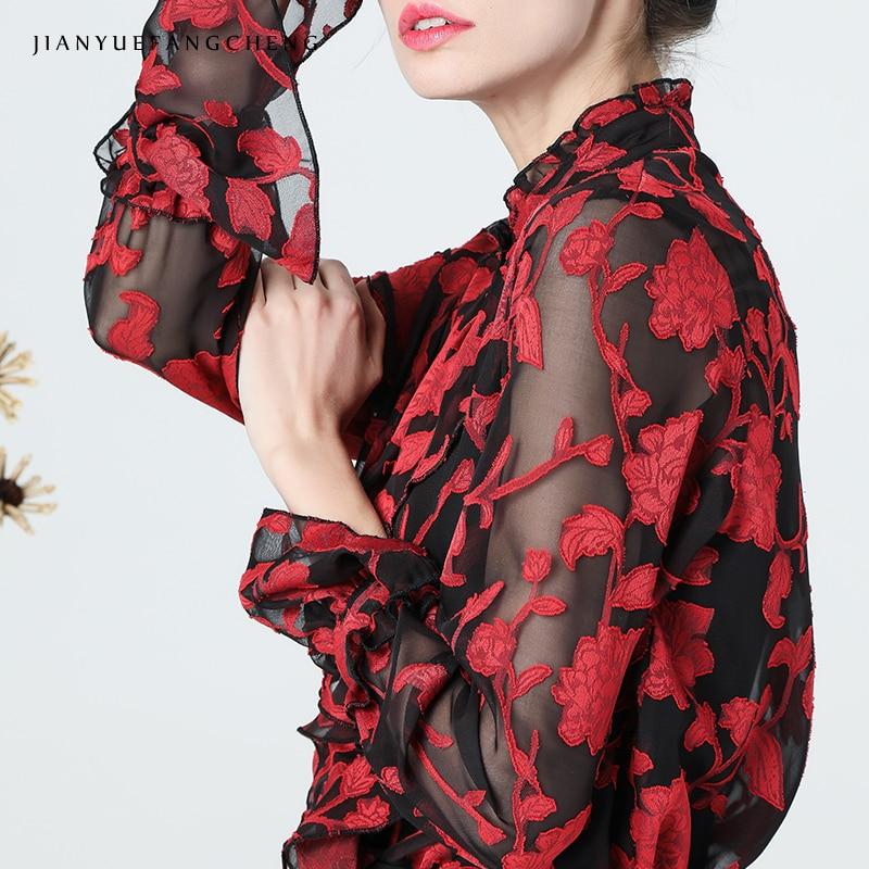 3D broderie rouge Floral Blouse femmes automne Top col montant manches longues évasées hauts Vintage Street wear femmes Blouses et hauts - 5