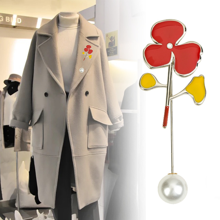 US $1.39 30% OFF|i Remiel Fashion Safety Pin Pearl Flower Brooch Women's Coat Leaves Pins and Brooches Shawl Buckle Shirt Accessories Wholesale in