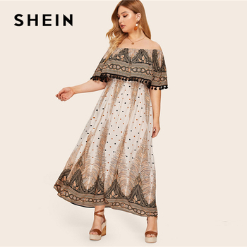 SHEIN Plus Size Off Shoulder Ruffle Tassel Detail Paisley And Dot Maxi Dress 2019 Women Summer Boho High Waist A Line Dreeses