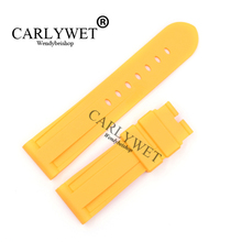 CARLYWET 24mm Wholesale Newest Men Yellow Waterproof Silicone Rubber Replacement Wrist Watch Band Strap Belt For Luminor