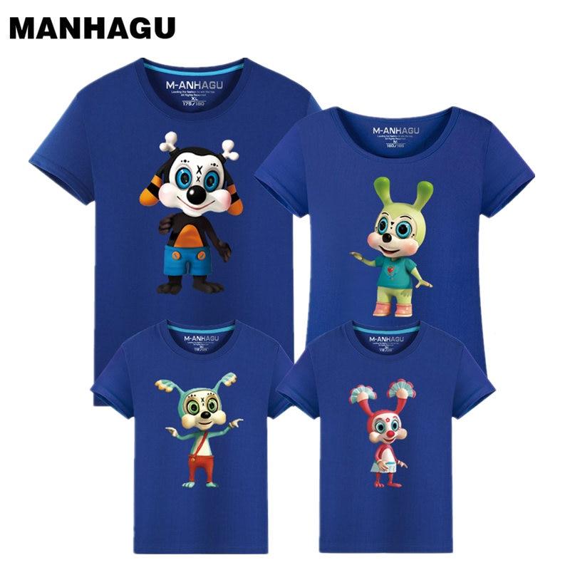 MANHAGU Cartoon králík Módní kapela rock T Shirt Family Matching Outfits Grafická trička dívky chlapci Hip Hop Family Krátký rukáv