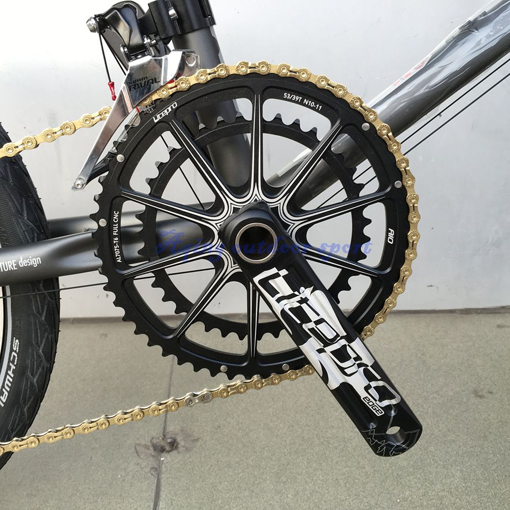 Litepro EDGE AIO Hollow Double Chainring Crankset Crank 53T/39T GXP 170mm Road Folding Bike lightweight litepro road bike crank 39 53t 130bcd road bicycle crankset bicycle crankset 170mm