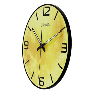 "Image 2 - הגעה חדשה עיצוב ירח אופנה מודרנית שעון קיר MDF LUMINOVA שעון קיר DIY דקורטיבי ללא מסגרת עץ 28 ס""מ"