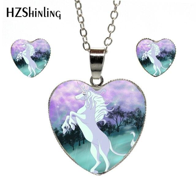 59738e0bbb75 Nueva llegada unicornio arte foto colgante de corazón collar de cuento de  hadas de fantasía