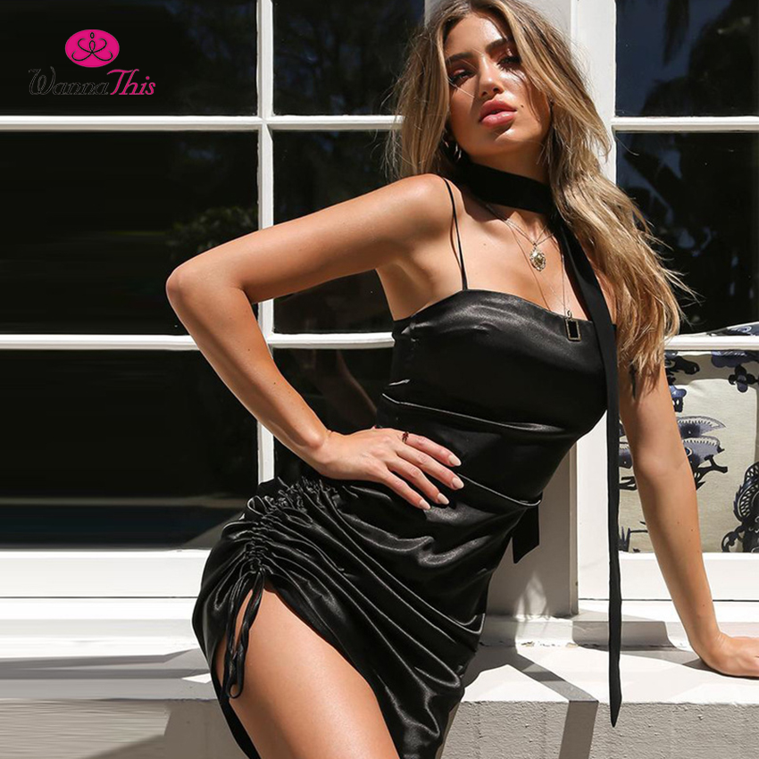 3eda833a3c32 WannaThis Black Ruched Bodycon Dress Women Draw String Strapy Sleeveless  Side Draped Satin Bandage Dresses 2018 Summer Vestidos-in Dresses from  Women's ...