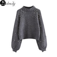 Levlmoly 2017 New Arrival Beading Sweater For Women Autumn Pullovers Knit Garments Female Wool Sweaters YN8876