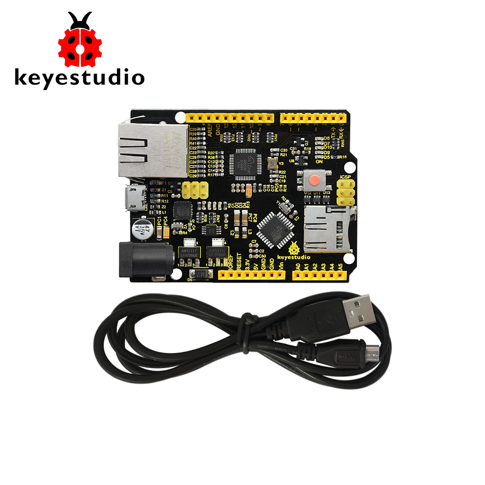 Keyestudio W5500 ETHERNET DEVELOPMENT BOARD For Arduino DIY Project  (WITHOUT POE)-in Integrated Circuits from Electronic Components & Supplies
