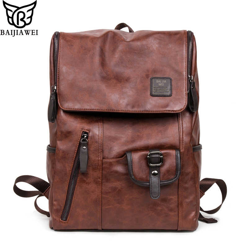 BAIJIAWEI 2018 New Oil Wax Leather Backpacks Western Style Mix Cow Leather  Bag For Men Travel f573cce0e36c5