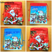 20pcs Christmas Santa Clause Gift postcard printed hanging drawstring bags christmas xmas ornament decoration shopping backpack