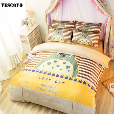 Totoro children room decoration 3 4pcs bed sheet quilt for Living room quilt cover