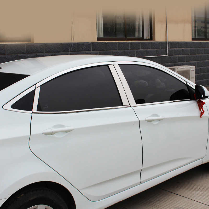 Vlarme pour Hyundai Solaris accessoires fenêtre revêtement d'habillage extérieur carrosserie décoration chrome voiture-produits de coiffure accessoire 2011 2014