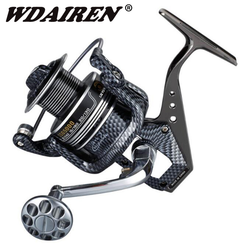 12+1 Ball Bearings Big Trolling Fishing Reels Feeder Metal Fishing Reel Carp surf casting Reel molinete 1000-7000 Size