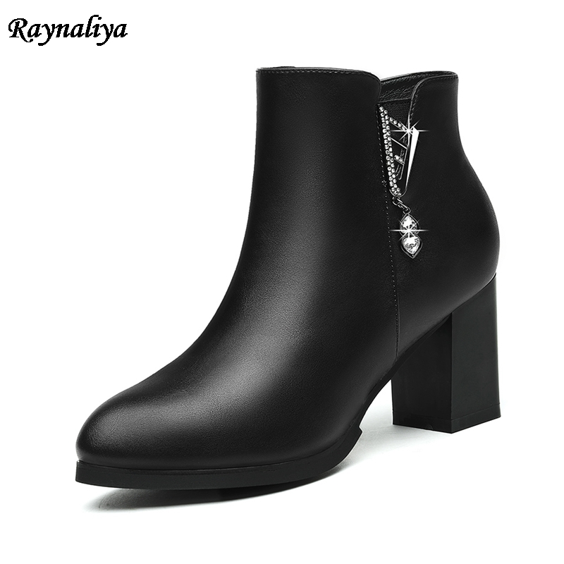 2018 New Fashion Ankle Boots Thick Heels Plus Size 34-41 Genuine Leather Autumn Women Boots Female Slimple Lady Shoes LSN-B0030 цены онлайн