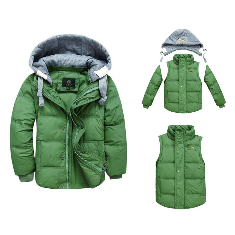 Boys Winter Jackets Removable Kids Warm Down Parkas Vest Childrenu0026#39;s Hooded Coats Kids Thick ...