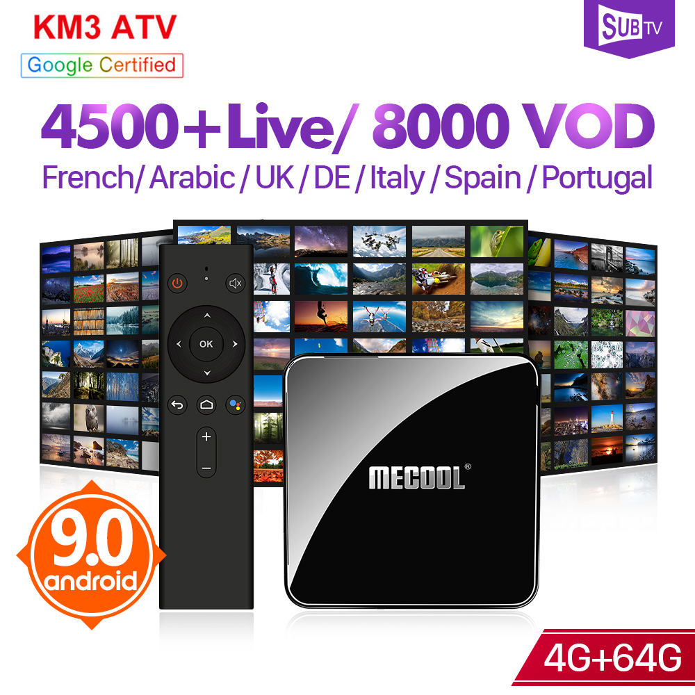 IPTV France Arabic SUBTV 1 Year IPTV Code KM3 Android 9.0 Tv BOX 4G 64G French Arabic IP TV Portugal IPTV Turkey Italy UK IP TV
