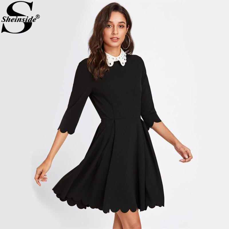 Sheinside Contrast Eyelet Party Dress Black Collar Scalloped Pleated Dress Ladies 3/4 Sleeve Elegant Skater Dress