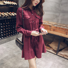 Large Size Women long sleeved Button Closure Dress Polo Collar Wine Red Above knee Shirt Dress