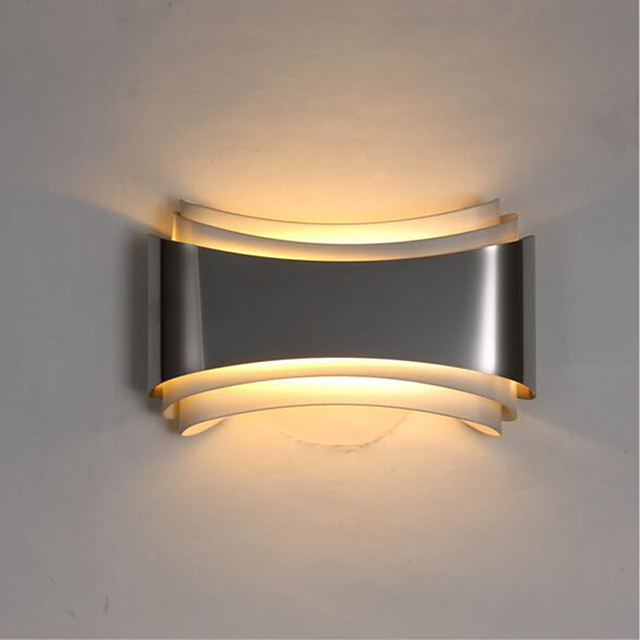 Modern led wall lights for bedroom study room Stainless steel+ ...